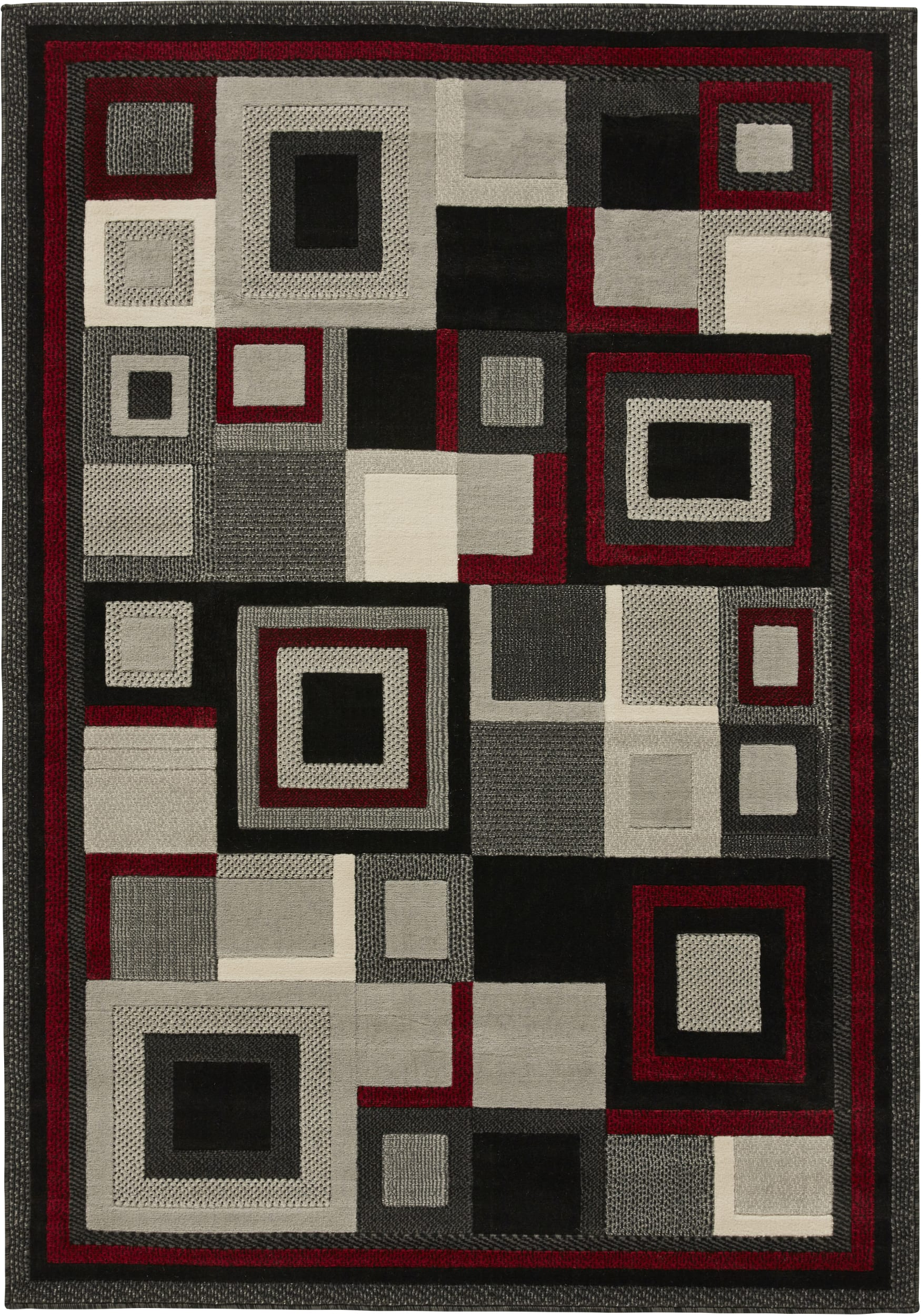 Rug Colour 3222 Black Red By Think Rugs