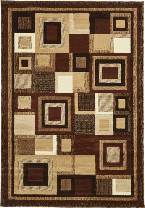 Hudson Rug by Think Rugs in 3222 Brown/Beige Colour; machine-made with BCF polypropylene