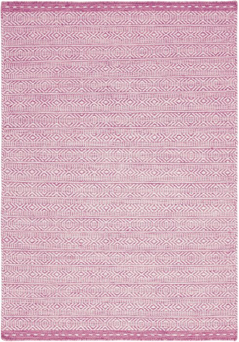 Knox Rug by Asiatic Carpets with unbacked geometric dhurries in pink colour