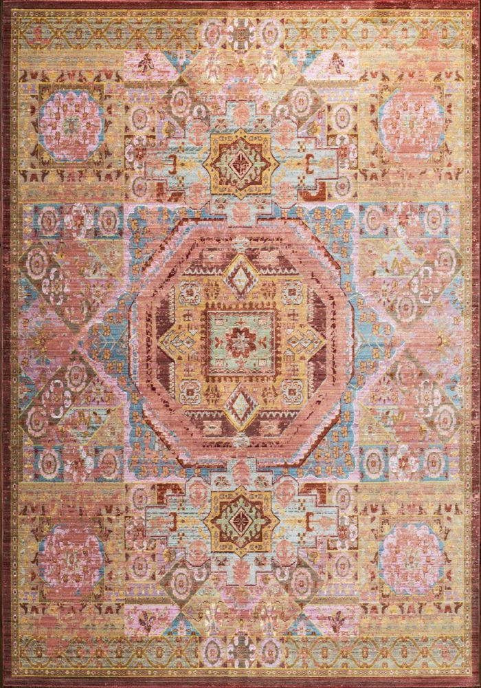 Aqua Silk Rug by Mastercraft Rugs in Multi-Colour Traditional B207C Design- a modern take on classic designs in updated tones