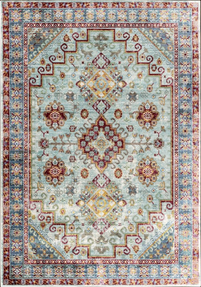 Aqua Silk Rug by Mastercraft Rugs in Traditional N109A Design and Beige/Blue Colour; a modern take on classic designs