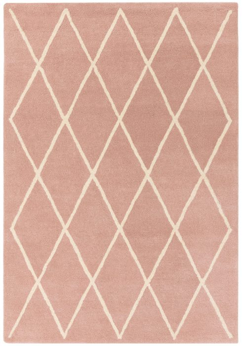Albany Rug by Asiatic Carpets in Diamond Pink Design; an eye-catching, decorative geometric rug made from 100% wool