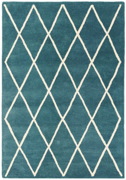 Albany Rug by Asiatic Carpets in Diamond Teal Design; an eye-catching, decorative geometric rug; made from 100% wool