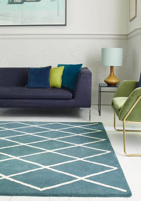 Albany Diamond Teal Rug Roomset