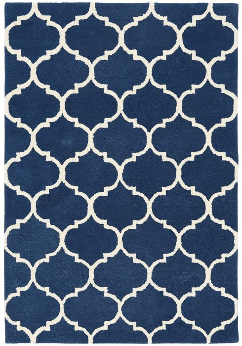 Albany Rug by Asiatic Carpets in Ogee Blue Design; an eye-catching, decorative geometric rug; Made from 100% wool