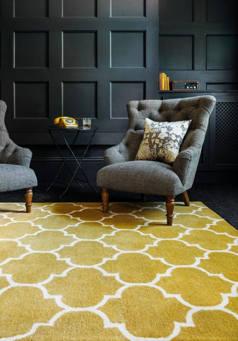 Albany Ogee Mustard Rug Roomset