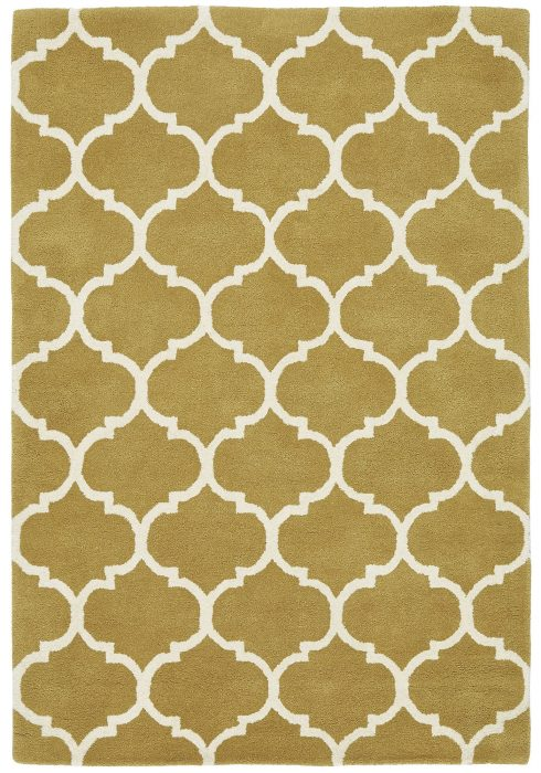 Albany Rug by Asiatic Carpets in Ogee Ochre Design; an eye-catching, decorative geometric rug; made from 100% wool