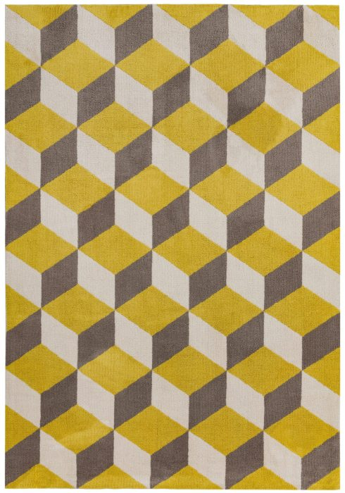 Arlo Rug by Asiatic Carpets in AR09 Yellow Block Design; a soft weave rug with bold geometric patterns