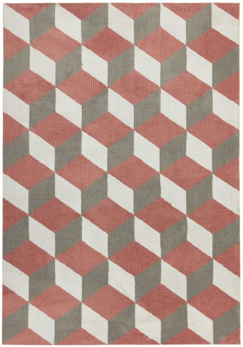 Arlo Rug by Asiatic Carpets in AR10 Pink Block Design; a soft weave rug with bold geometric patterns