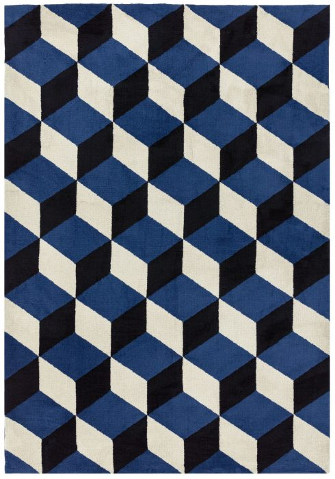 Arlo Rug by Asiatic Carpets in AR11 Blue Block Design; a soft weave rug with bold geometric patterns