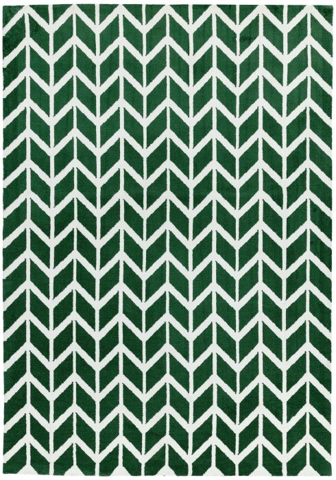Arlo Rug by Asiatic Carpets in AR12 Chevron Green Design; a soft weave rug with bold geometric patterns