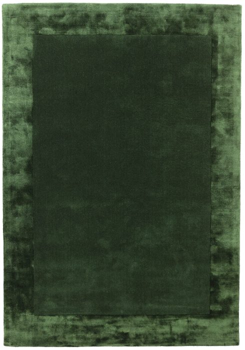 Ascot Rug by Asiatic Carpets in Green Colour; made using Wool bordered with viscose for added charisma