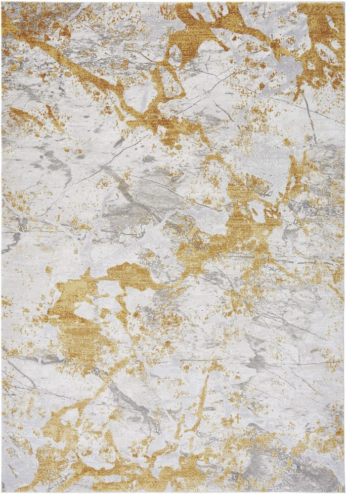 Astral Rug by Asiatic Carpets in AS09 Ochre Design; sure to stand out with its distressed abstract design and subtle texture