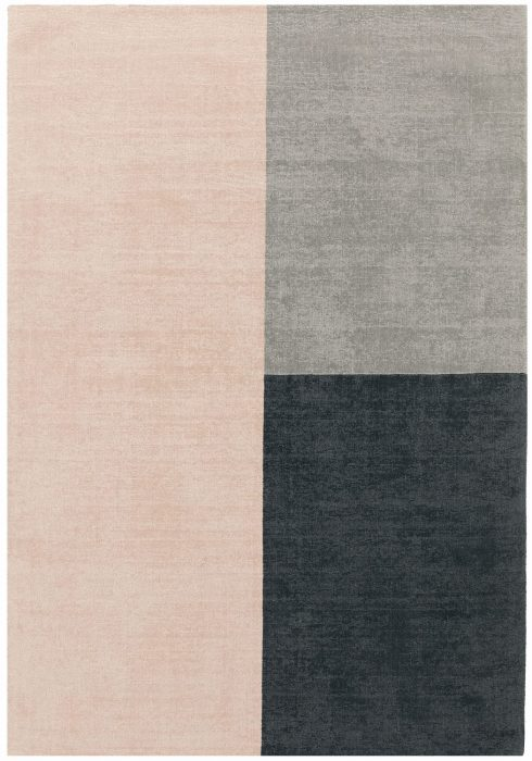 Blox Rug by Asiatic Carpets in Pink Colour; hand sheared wool loop rug in complementary bold blocks of colour