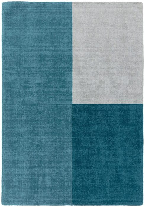 Blox Rug by Asiatic Carpets in Teal Colour; hand sheared wool loop rug in complementary bold blocks of colour