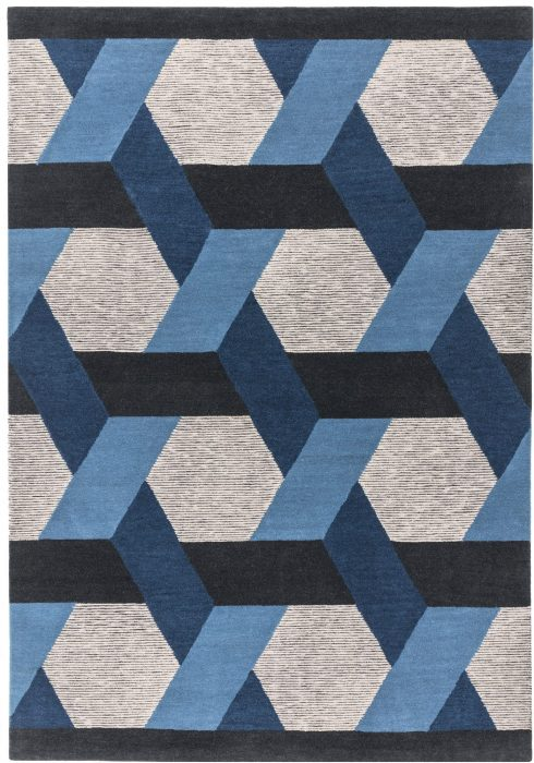 Camden Rug by Asiatic carpets in Blue Colour; a rug with bold and geometric pattern, micro-tufted for a finer finish