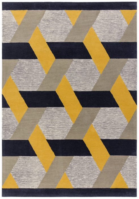 Camden Rug by Asiatic carpets in Gold Colour; a rug with bold and geometric pattern, micro-tufted for a finer finish