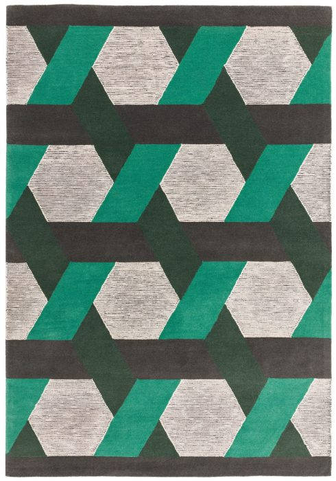 Camden Rug by Asiatic carpets in Green Colour; a rug with bold and geometric pattern, micro-tufted for a finer finish