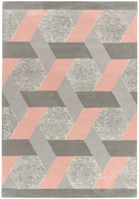 Camden Rug by Asiatic carpets in Pink Colour; a rug with bold and geometric pattern, micro-tufted for a finer finish