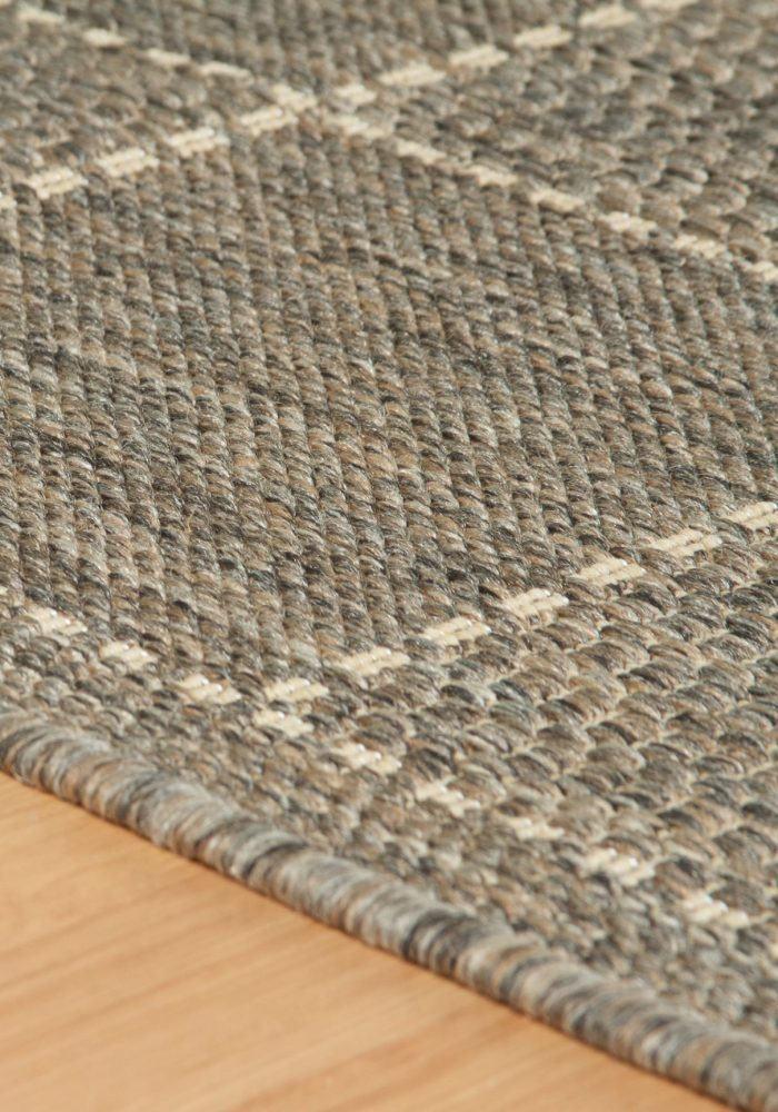 Checked Flatweave Grey Rug Detail (1)