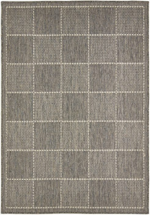 Checked Flatweave Grey Rug Overhead
