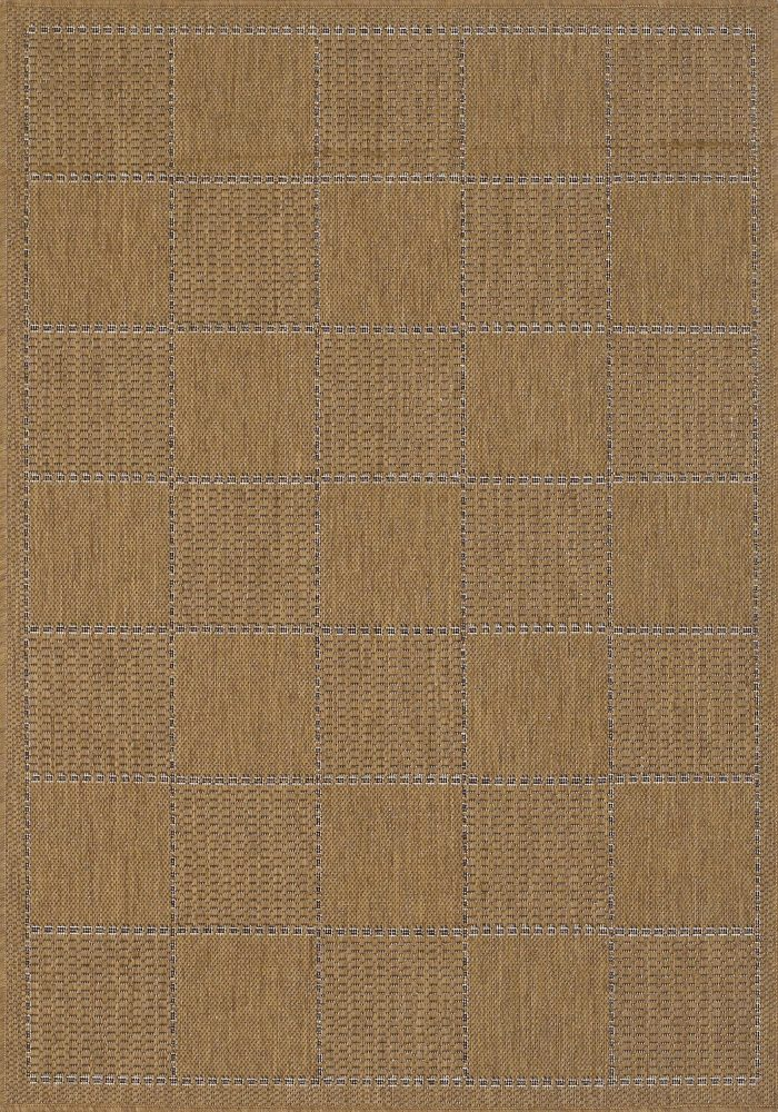 Checked Flatweave Rug by Oriental Weavers in Natural Colour; inspired by traditional sisal rug & has an anti-slip gel backing