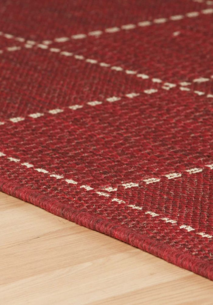 Checked-Flatweave-Red-Closeup-Rug