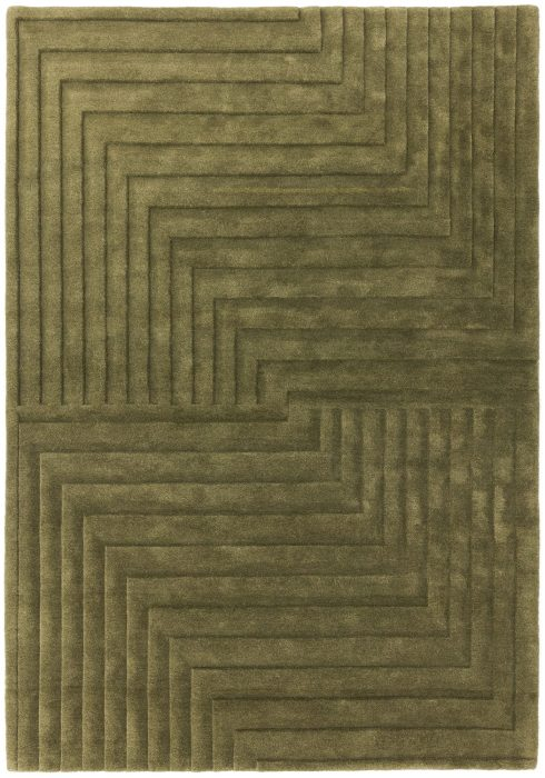 Form Rug by Asiatic Carpets in Green Colour has a multi-level pattern offering a subtle 3D effect