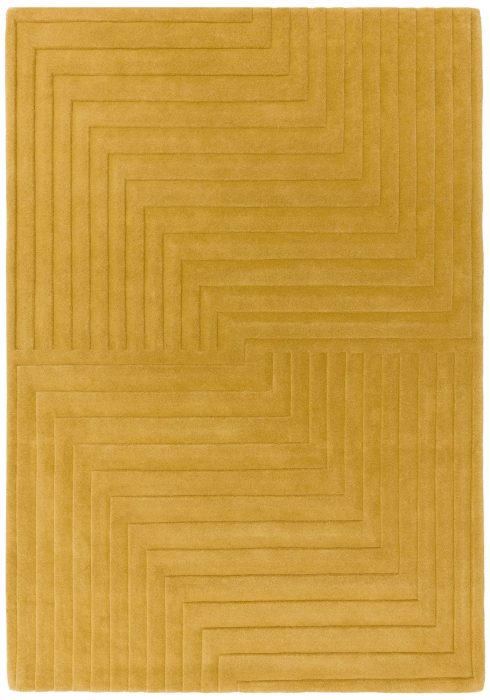 Form Rug by Asiatic Carpets in Ochre Colour has a multi-level pattern offering a subtle 3D effect