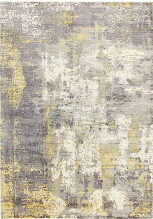 Gatsby Rug by Asiatic Carpets in Gold Colour has shimmering tip sheared viscose with a screen printed abstract design