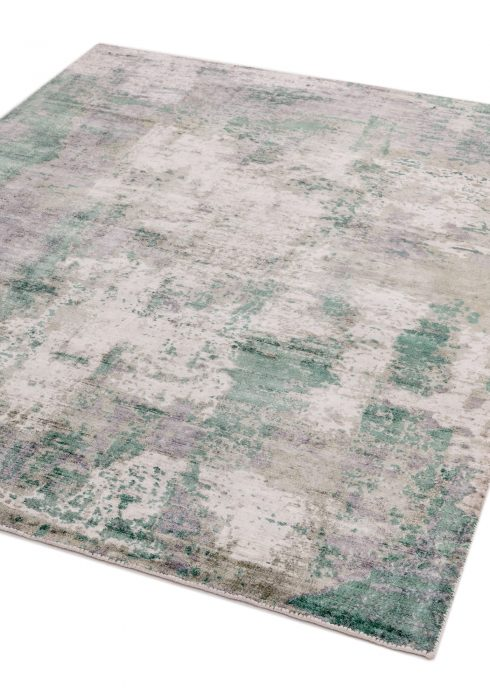 Gatsby Rug by Asiatic Carpets in Green Colour has shimmering tip sheared viscose with a screen printed abstract design