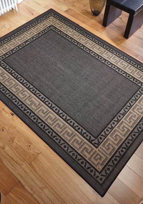 Greek Key Flatweave Black Rug Roomshot