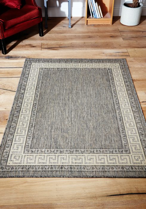 Greek Key Flatweave Grey Rug Roomshot