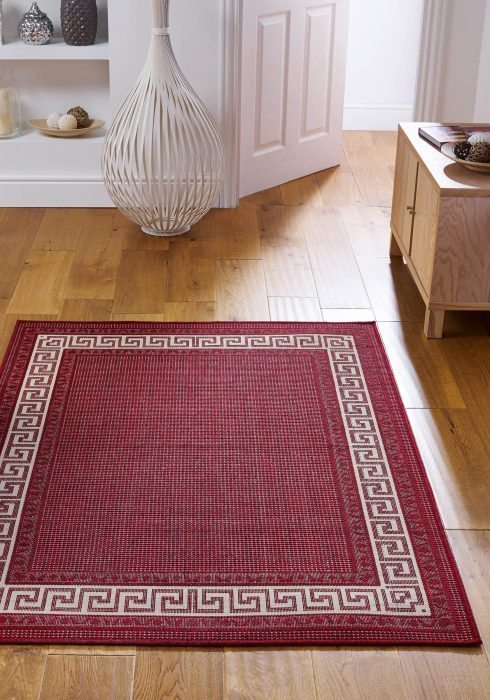 Greek Key Flatweave Red Rug Roomshot