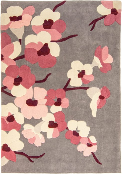 Infinite Rug By Flair Rugs in Charcoal/Pink Colour & Blossom Design; made with 100% polyester & captures the beauty of nature