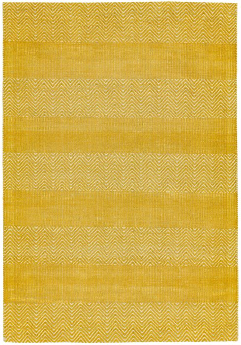 Ives Rug by Asiatic Carpets in Yellow Colour has a classic herringbone pattern made with cotton chenille and jute