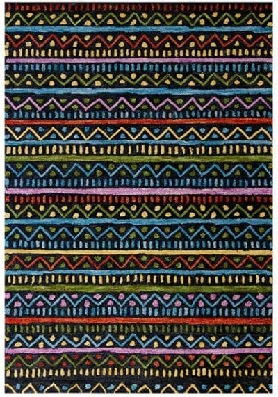 Jasper Rug by Oriental Weavers in Tribal Charcoal Design features a unique brightly coloured space-dyed wool yarn