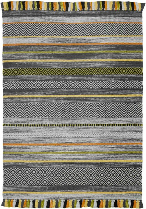 Kelim Rug by Oriental Weavers in Stripe Charcoal Colour; made in warm natural tones and is great for casual and formal rooms