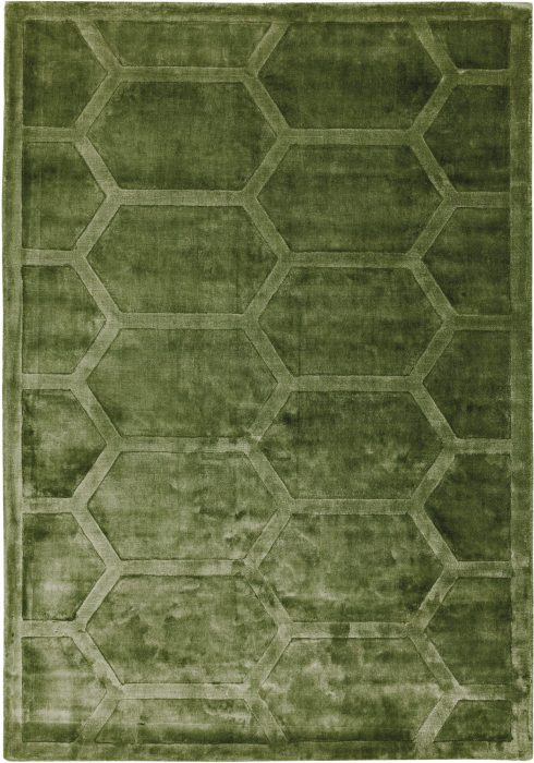 Kingsley Rug by Asiatic Carpets in Green Colour; handwoven in India & expertly hand-carved to create raised geometric design