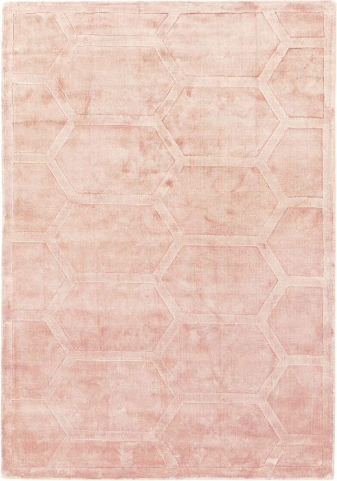 Kingsley Rug by Asiatic Carpets in Pink Colour is handwoven in India & expertly hand-carved to create raised geometric design