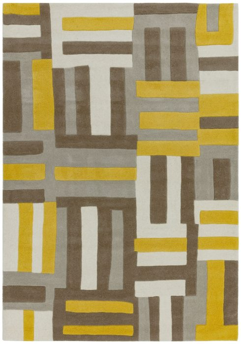 Matrix Rug by Asiatic Carpets in MAX17 Code Yellow Design; contemporary wool hand-tufted design Matrix rug