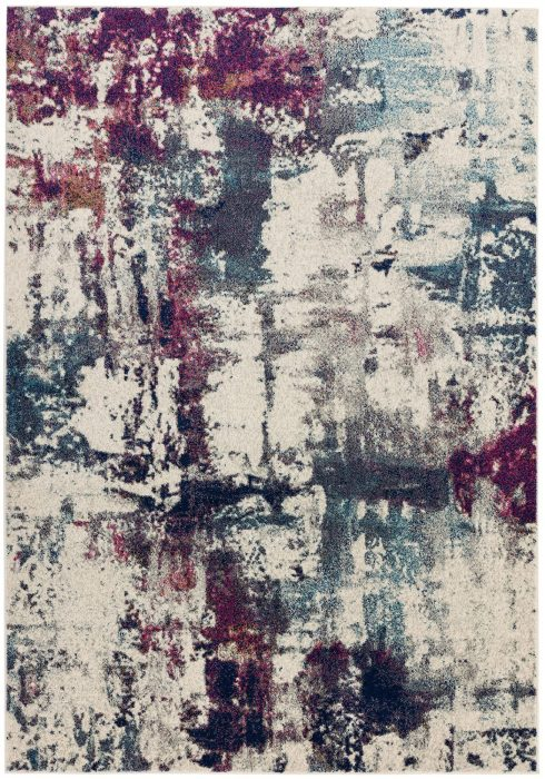 Nova Rug by Asiatic Carpets in NV23 Abstract Navy Multi Design; a durable rug in a sophisticated multi-coloured design