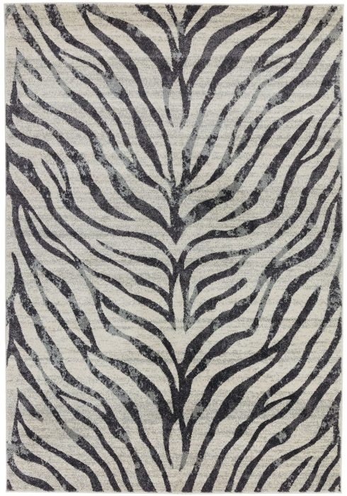 Nova Rug by Asiatic Carpets in NV27 Zebra Grey Design; a practical and durable rug in a sophisticated design
