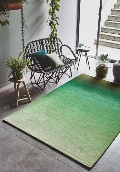 Ombre Green Rug Roomset