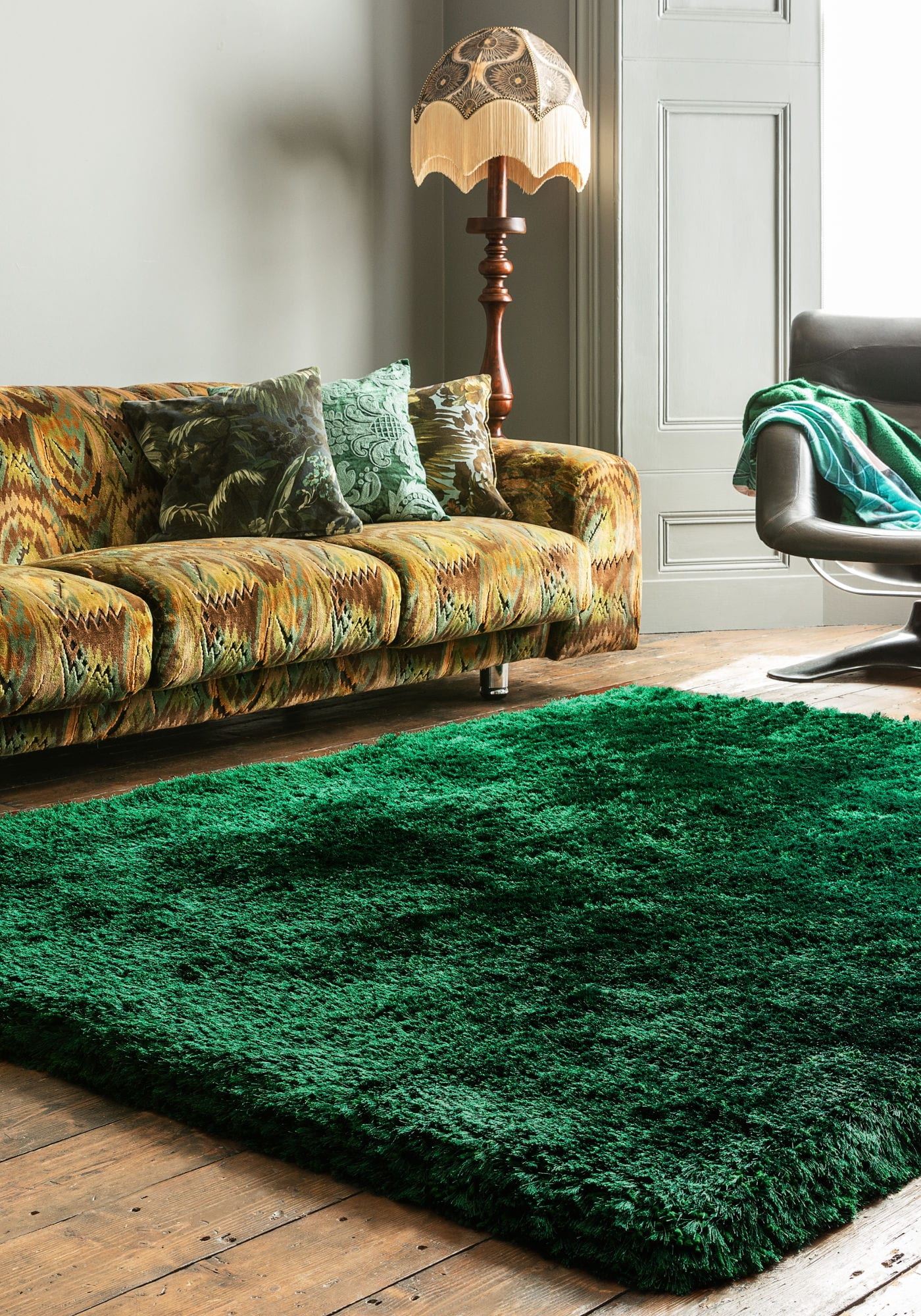 Plush Rug By Asiatic Carpets Colour Emerald Rugs Uk