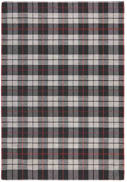 Cottage Flatweave Rug by Oriental Weavers in 11 E Black/Grey/Red Check Design; perfect for adding rustic country feel to home