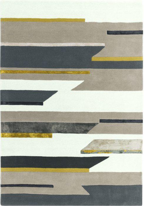 Matrix Rug by Asiatic Carpets in MAX62 Rhombus Mustard Design; contemporary wool hand-tufted design Matrix rug