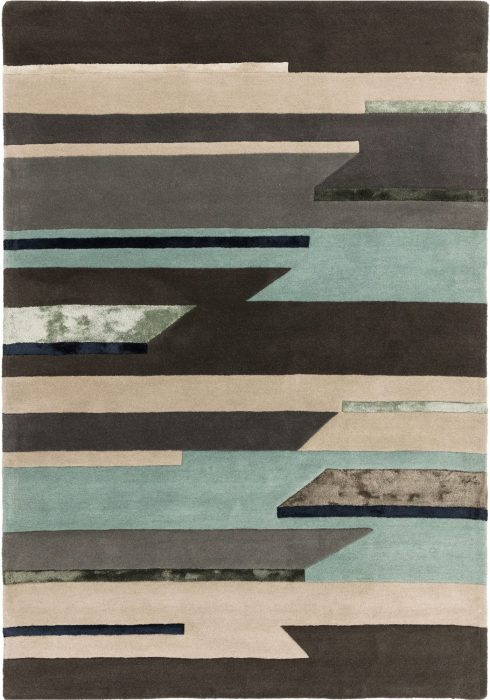 Matrix Rug by Asiatic Carpets in MAX63 Rhombus Blue Design; contemporary wool hand-tufted design Matrix rug