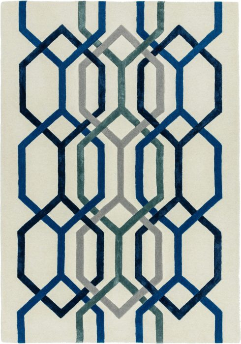 Matrix Rug by Asiatic Carpets in MAX65 Hexagon White Design; contemporary wool hand-tufted design Matrix rug