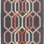 Matrix Rug by Asiatic Carpets in MAX66 Hexagon Charcoal Design; contemporary wool hand-tufted design Matrix rug